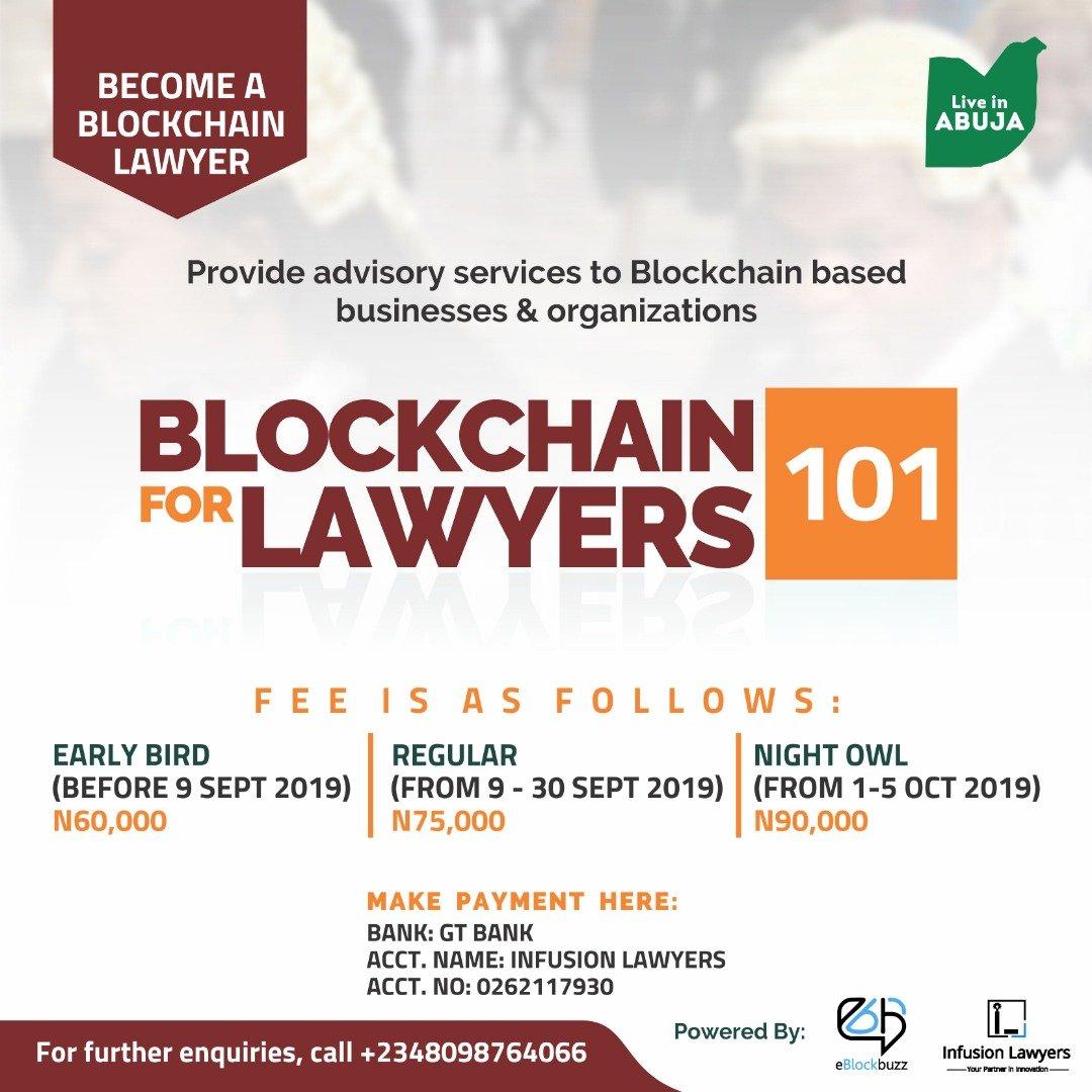 Register for Blockchain for Lawyers 101, 5 October 2019, Abuja FCT